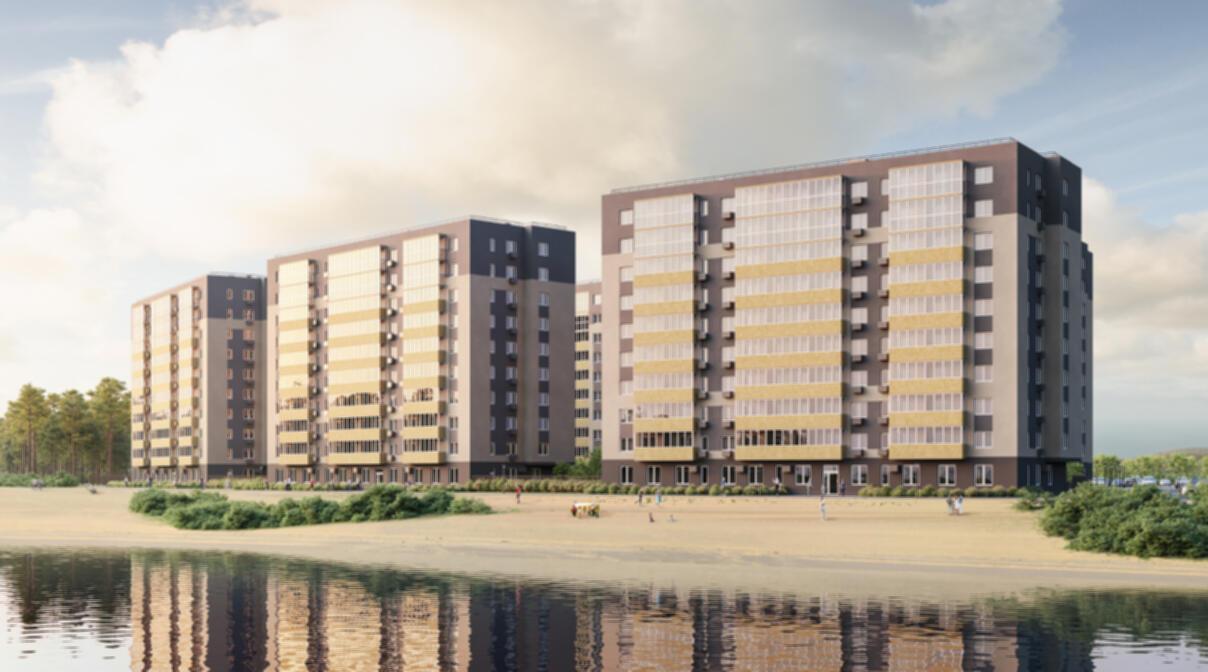 Новый жилой комплекс на берегу озера в Тюмени.