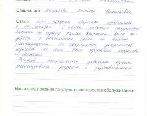 Менькова Евгения о работе Мастяевой Татьяны