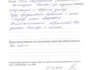 Отзыв Кудашовой И.В.