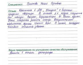 Маньжов Александр Николаевич о работе Ермаковой Юлии Сергеевны